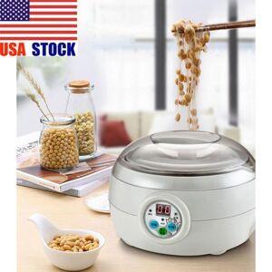 DHgate 1.5l 220v 15w white electric automatic yoghurt maker rice wine natto cuisine container yogurt maker kitchen appliance 14x21cm