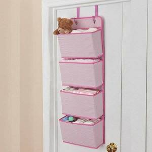 DHgate 4-layer non-woven fabric door for storage hanging bags fabric wardrobe shoes saving space convenient pink gray khaki