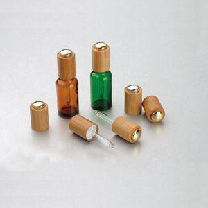 DHgate 5/10/15/20/30/50/100ml empty amber/green/blue glass essential oil dropper bottles bamboo press pump cap glass pipette wholesale
