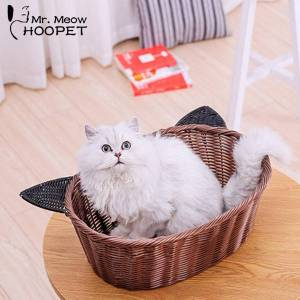 DHgate hoopet pet bed cat basket bed soft wood rattan cute cave cane products cat house breathable mat summer pet supplies