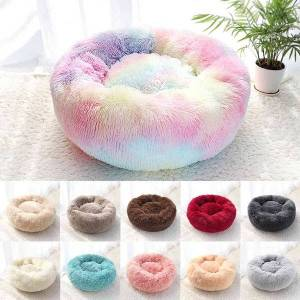DHgate kennels & pens pet dog bed warm fleece round kennel house long plush winter pets beds for medium large s cats soft sofa cushion ma