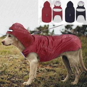 DHgate dog apparel pet large raincoat waterproof big clothes outdoor coat rain jacket for golden retriever labrador husky s 3xl-5xl 8blr
