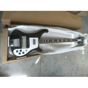 DHgate 4 strings black 4003 electric bass guitar chrome hardware one pc neck & body good binding body dual output ric china bass