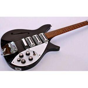 DHgate rare short scale ric john lennon 325 black semi hollow electric guitar gloss fretboard, accent vibrato, double tier white pick guard