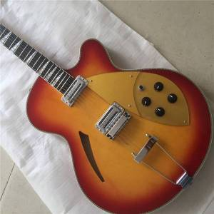DHgate 2019 ric hollow body jazz electric guitar,archguitar sun color paint,maple texture,2 golden pickguard,electric guitars gui