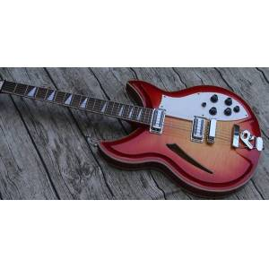 DHgate ric fire glo cherry sunburst 330 360 12 string semi hollow body electric guitar flame maple & back, sandwich neck, checkerboard bindingr