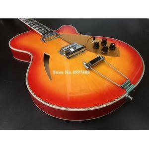DHgate ric 330 370 6 strings cherry sunburst semi hollow body electric guitar single f hole, checkerboard binding, 2 output jacks, gold pickguard