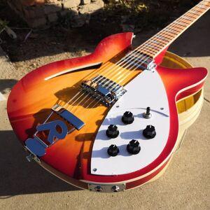 DHgate ric cherry sunburst 360 330 12 strings flame maple electric guitar semi hollow body, single f hole, triangle pearl inlay, 2 input jacks