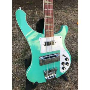 DHgate custom 4 strings 4003 bass 20 fret sea green mono stereo output ric 4003 triangle inalys china electric guitar bass