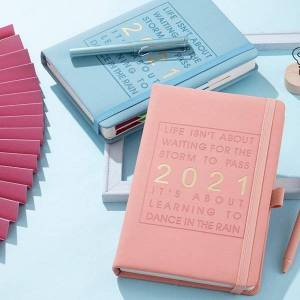 DHgate 2021 planner agenda daily weekly monthly planner student 2021 calendar leather cover @m23