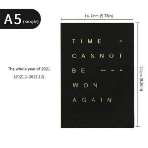 """DHgate notepads 2021 large annual planner, """"time can not be won again """"yearly monthly weekly daily bound dated agenda notebook"""