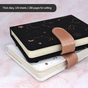 DHgate notepads notebook agenda planner starry sky pattern a6 diary full year undated daily&monthly plan soft leather 288 pages journal