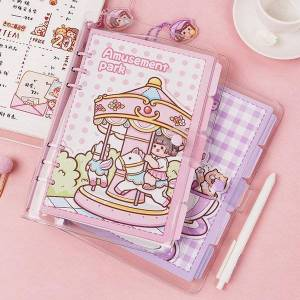 DHgate notepads cute pvc soft transparent a5 a6 loose-leaf notebooks and journals diary kawaii daily weekly planner notebook school stationery