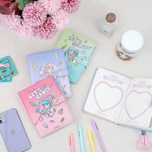 DHgate notepads daily planner 2021 leather cover notebooks for girls korea cartoon student dinary