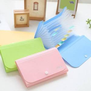 DHgate business card files 13 interlayer 1pc a6 plastic candy color document bag file folder expanding wallet bill small 17.7*11.5*2.3cm deli 5561