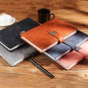 DHgate notepads b5 soft business leather notebook diary travel daily memos planner agenda notepad with retro metal buckle