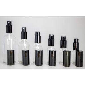 DHgate wholesale lot clear glass spray bottles 10ml 15ml 20ml 30ml 50ml 100ml portable refillable bottles with perfume atomizer black cap dhl