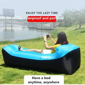 DHgate patchwork portable inflatable lazy sofa with pillow camping travel rainbow air sofa sleeping bag lounger bag air bed 2020