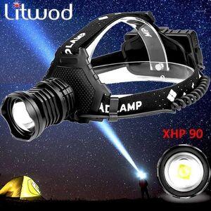 DHgate z15 2064 xhp90 led headlamp headlight the most powerful 32w 8000lm head lamp zoom power bank 7800mah 18650 battery1