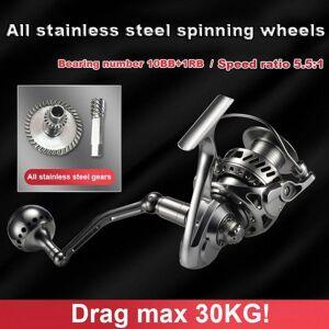 DHgate drag max 30kg fishing reel for sea st all metal spinning wheel ocean boat fishing reelsstainless steel body 10+1bb carbon brake