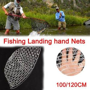 DHgate fishing accessories 100/120cm elastic land net transparent rubber replacement not hurt fish durable soft pocket tool