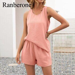 DHgate ranberone 2 piece set women solid color casual sleepwear female sport loose round neck vest shorts suit tracksuit 2021 yoga outfit