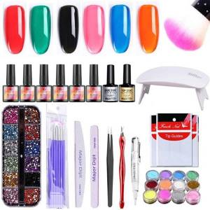 DHgate 18pcs manicure set with 5w led uv nail lamp nail gel polish rhinestones dripping powder decoration art tools
