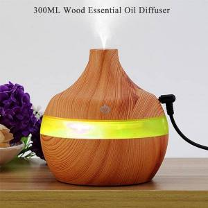 DHgate humidifiers aroma mist nebulizer 7 color light ac setting cool diffuser 300ml wood essential oil aromatherapy humidifier