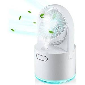 DHgate electric fans mini usb fan with mist, table 300ml water tank and 7 colorful nightlight, portable silent for home office