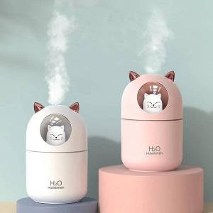 DHgate humidifiers 300ml usb air humidifier ultrasonic cooling machine atomizer with colorful lights cute cat mini aroma diffuser