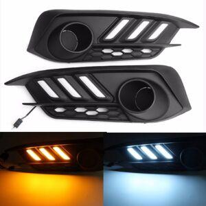 Honda Pair White&Yellow LED Daytime Running Light Turn Signals Light For Honda Civic 10th 2016