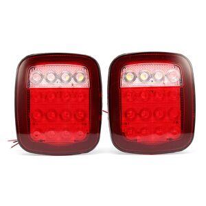 jeep 2Pcs LED Car Red White Tail Light Truck Trailer Stop Turn Lamp for Jeep JK TJ CJ YJ