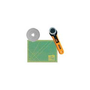 Olfa 45mm Rotary Cutter (RTY-2/G), 18x24 Inch Cutting Mat, 5pack Blades