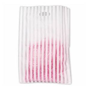 Bags & Bows by Deluxe White Stripe Frosted Merchandise Bags, 14 x 3 x 21""