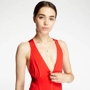 Calvin Klein Zip Front One Piece High Risk  - Red - Size: Small