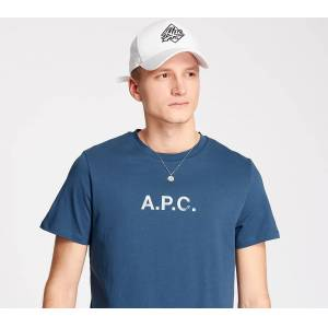 A.P.C. Stamp Tee Blue  - Blue - Size: Large