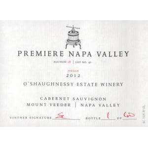 O'Shaugnessy Premiere Napa Valley O'shaughnessy Mount Veeder Cabernet Sauvignon (5 Cases Made) 2012