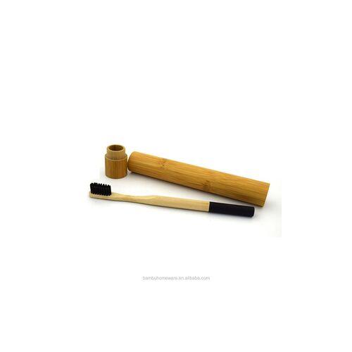 Bamboo toothbrush wih bamboo carring case