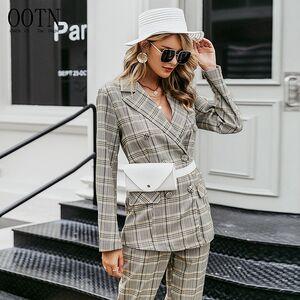 OOTN Button Streetwear Women Blazers Jacket Long Sleeve Casual Office Ladies Blazer Coat Plaid Double Breasted Ladies Blazer
