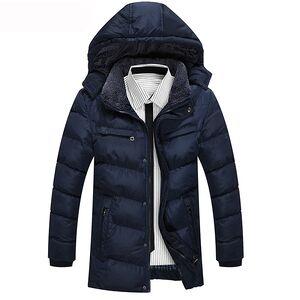 Autumn and winter men's long cotton jacket