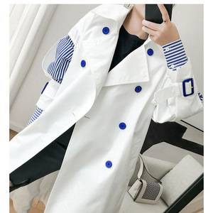 White cotton trench coats Women Spring Long patchwork double breasted trench coats