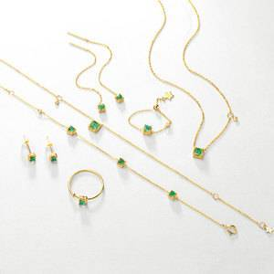 Wholesale dainty women real solid 14K gold natural emerald 6pieces jewelry set