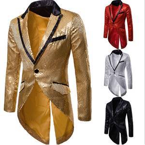 Mens Slim Fit Sequin Tailcoat 2019 Spring Brand New Male Long Sleeve Frock Coat Man Party/Club/Wedding Suit Blazer Jacket