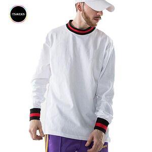 Mens urban fashion long sleeve rib t-shirt
