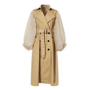 Top brand Polka Dot Puff sleeve Long trench coats for Women wholesale windbreaker with belt