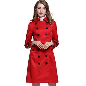 Wholesale Autumn and Spring Women Fashion Lapel Collar British Style Long Sleeve Double Breasted Trench Coat 3 Colors