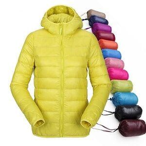 Women Ultra Light Down Jacket Hooded Winter Duck Down Jackets Women Slim Long Sleeve Parka Zipper Coats