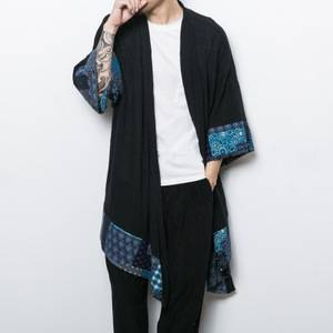 New male loose shawl cardigan coat China style men's cotton linen trench jacket long kimono windbreaker coat