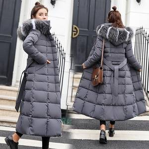 Winter Women's Down Coat 2019 New Clothes Cotton-Padded Thickening Down Winter Coat Long Jacket Down Parka Plus Size M-3XL