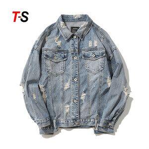 Custom Long Sleeve Large Size Simple Pure Color Casual  Retro Men's Denim Jacket outdoor jacket